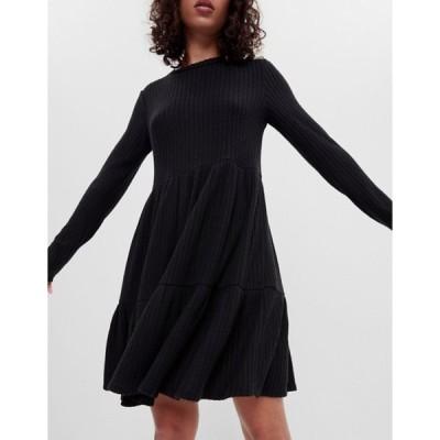 ベルシュカ レディース ワンピース トップス Bershka long sleeve smock mini dress in black