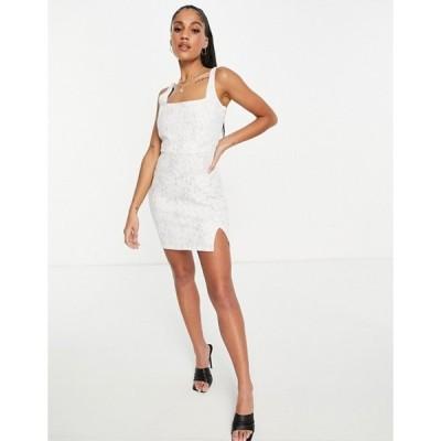 クラブエル ロンドン レディース ワンピース トップス Club L London square neck lace mini dress in white