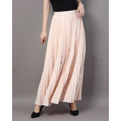 ゲス GUESS Luisa Pleated Lace Insert Skirt (PINK POWDER)