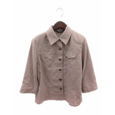 【中古】アラービーン AllerBien シャツ ブラウス 七分袖 9 茶 ブラウン /ST レディース