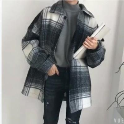 大きいサイズ レディース 春服 ジャケット コート レディース アウター レトロ チェック柄 カジュアル オーバーサイズ ミディ丈 ジャケッ
