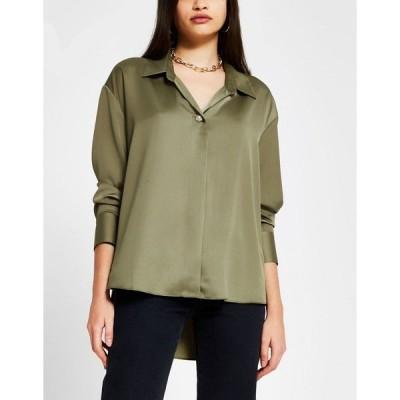 リバーアイランド レディース シャツ トップス River Island satin shirt in green Pistachio