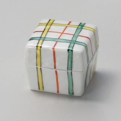 業務用食器 赤絵格子角蓋付珍味 φ4.3×3.8�