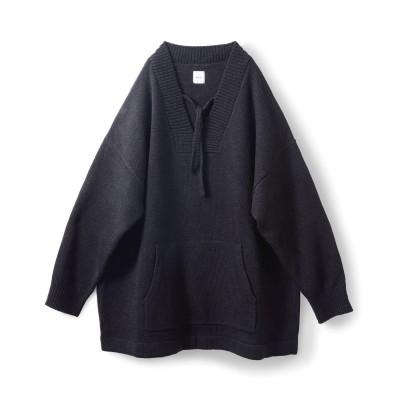 アヴェクモワ Vネックセーター〈ブラック〉 フェリシモ FELISSIMO