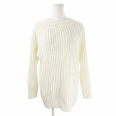 【中古】イング INGNI ニット セーター クルーネック 長袖 オーバーサイズ M 白 ホワイト /AH3 ☆ レディース