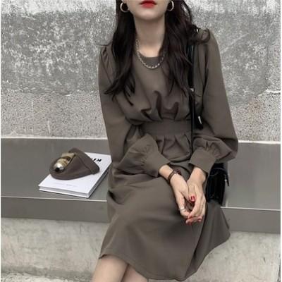 [55555SHOP]2020秋新入荷韓国ファッション 大きいサイズ ラウンドネック 長袖 気質 ウエスト 痩身 中長セクション ワンピース