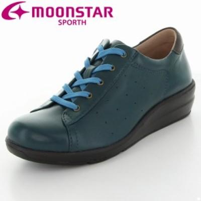 送料無料 ムーンスター スポルス レディース カジュアルコンフォートシューズ 靴 SP0212 ブルー 外反母趾向け 本革