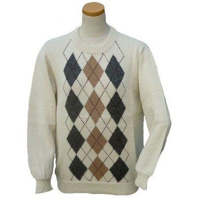 ALC-037-1 アルパカ100%セーター 丸首 男女 アーガイル柄 暖かい 綺麗