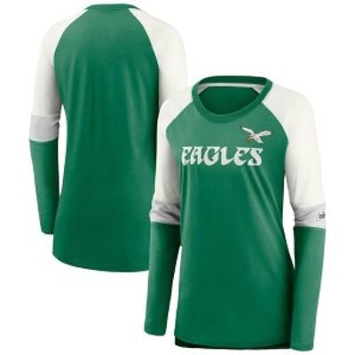ナイキ レディース Tシャツ トップス Philadelphia Eagles Nike Women's Mascot Historic Performance Tri-Blend Raglan Scoop Neck Long
