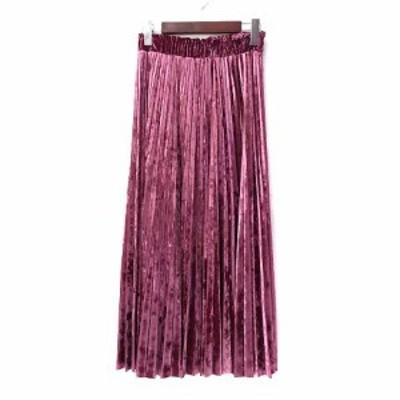 【中古】GRACE CONTINENTAL プリーツ スカート 36 S ピンク ポリエステル ロング 無地 シンプル ウエストゴム ベロア