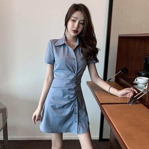 性感襯衫洋裝裙 2021流行女裝新款法式復古氣質收腰顯瘦翻領短袖遮腹連身裙 3C數位百貨