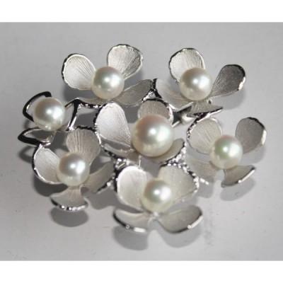 お花のパールブローチ シルバー製 伊勢志摩産 アコヤ本真珠 7個付き バースディギフ おしゃれ