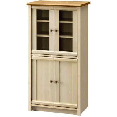 朝日木材加工 キャビネット 食器棚 Milfie 幅59cm 奥行39.4cm 高さ116.3cm ナチュラル×ホワイト MLC-1260CA-GD