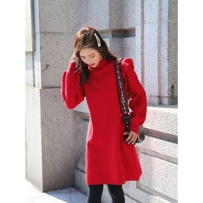 【Op-369】フェミニン カジュアル ニット ワンピース 長袖 大きいサイズ パーティー ドレス