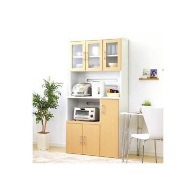 食器棚  キッチン 食器収納 キッチンラック レンジ台 レンジ棚 ハイ 約 幅90 スライド 炊飯器 高さ180 ワイド コンセント