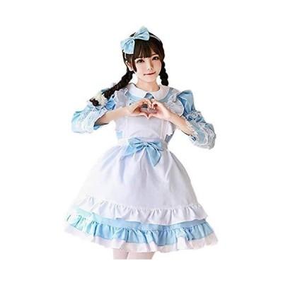 [milky time] メイド服 選べるカラー 半袖 長袖 2way仕様 メイド (水色 M)