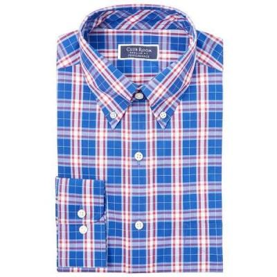 クラブルーム シャツ トップス メンズ Men's Classic/Regular-Fit Performance Stretch Garden Plaid Dress Shirt, Created for Macy's Navy Red