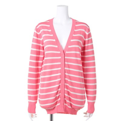 【BED&BREAKFAST】Classic Striped Sweater Vネックカーデ (PINK MIX)