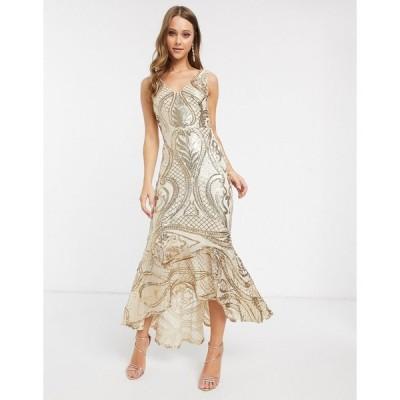 フォーエバーユニーク マキシドレス レディース Forever U sequin maxi dress with high low hem in gold エイソス ASOS ゴールド 金