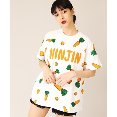 (PUNYUS/プニュズ)フード総柄Tシャツ/レディース オレンジ