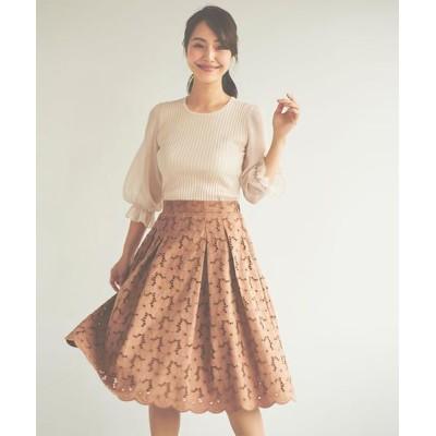 LAISSE PASSE/レッセパッセ スェード刺繍スカート モカ 36