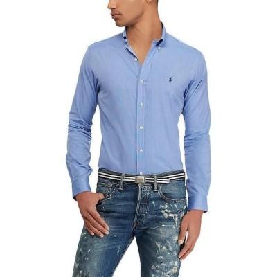 ラルフローレン メンズ シャツ トップス Slim-Fit End-On-End Poplin Stretch Long-Sleeve Woven Shirt Blue