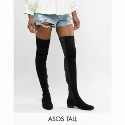 エイソス ブーツ ASOS DESIGN Tall Kelby flat elastic over the knee boots Black