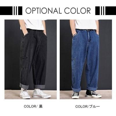 【セール】デニムパンツ ワイドパンツ メンズ WE バギーパンツ ジーンズ ゆったり 涼しいズボン 夏ズボン イージーパンツ チノパン