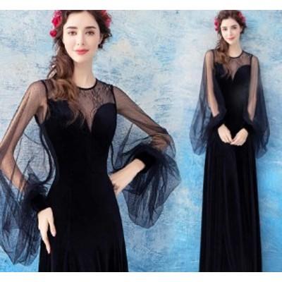 ナイトドレス ワンピース 華やかな花柄レース 長袖 透け感レース セクシー 発表会 女子会 お呼ばれドレス ブラック色