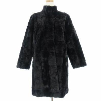 【中古】毛皮 コート ミドル丈 スタンドカラー 黒系 ブラック系 アウター IBS67 レディース