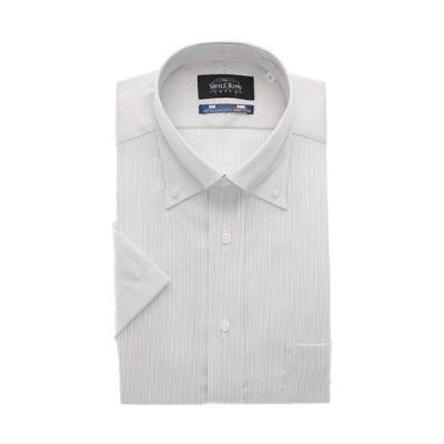 盛夏用 グレー系 ボタンダウンスタンダードワイシャツ【半袖】【キング】【NON IRONMAX】 Savile Row