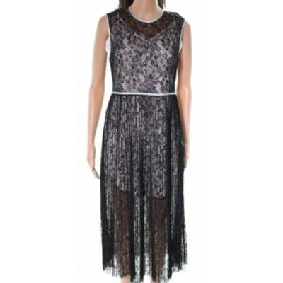 ファッション ドレス MAJE NEW Black Floral Sheer Laced Unlined Womens Size 3 A-Line Dress