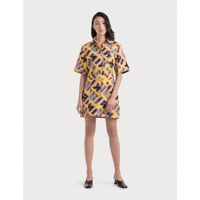 キリン Kirin レディース ワンピース シャツワンピース ワンピース・ドレス Typo Jacquard Shirt Dress Yellow/Blue