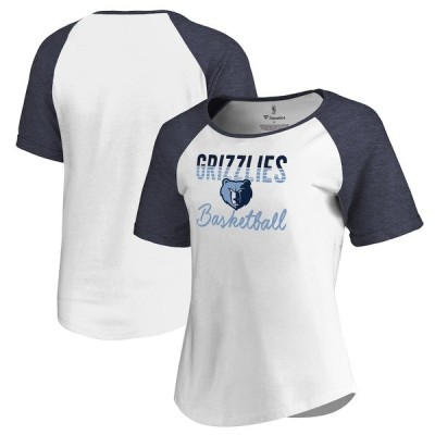 ファナティクス Tシャツ トップス レディース Memphis Grizzlies Fanatics Branded Women's Free Line Raglan Scoop Neck Tri-Blend T-Shirt White/Navy