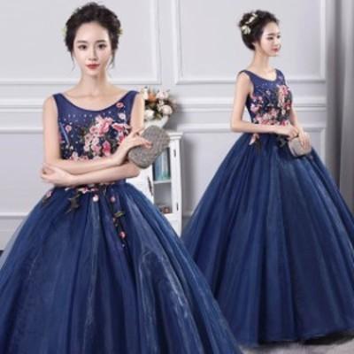 刺繍 お洒落 ロングドレス ウェディングドレス 編み上げ 演奏会 結婚式 花嫁 Vネック ドレス ベアトップ エンパイア チュール 結婚式 贅