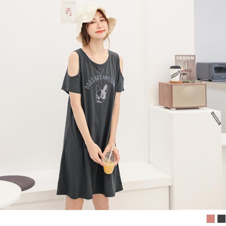 台灣製造.可愛法鬥印圖挖肩棉質寬版洋裝