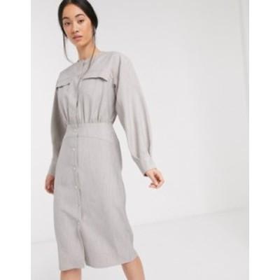 エイソス レディース ワンピース トップス ASOS DESIGN premium casual textured popper midi shirt dress in gray Gray