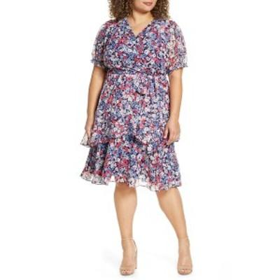 タハリ レディース ワンピース トップス Floral Clip Dot Faux Wrap Dress NAVY MAGENTA
