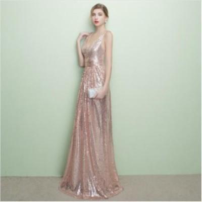 オシャレレディースドレスパーティードレスAライン発表会ドレス袖なし上品披露宴ドレスお呼ばれロングドレス