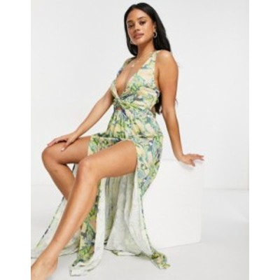 エイソス レディース ワンピース トップス ASOS DESIGN tie back beach maxi dress with twist front detail in neon flash snake Neon f