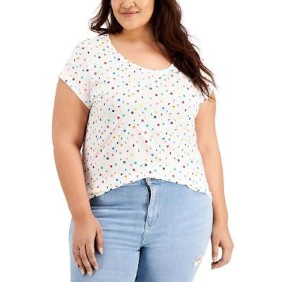 スタイルアンドコー カットソー トップス レディース Plus Size Graphic T-Shirt, Created for Macy's Mix Dot Coconut