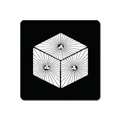 家紋シール 白紋黒地 三つ唐松菱 10cm x 10cm KS10-1523W