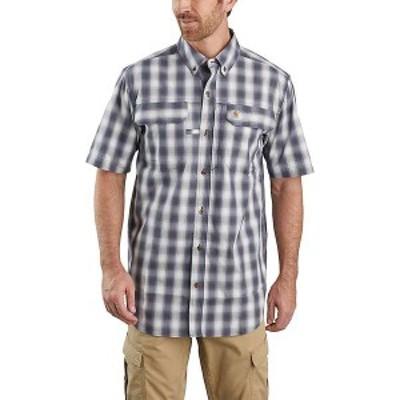 カーハート メンズ シャツ トップス Carhartt Men's Force Relaxed-Fit Lightweight SS Button-Front Plaid Shirt Bluestone