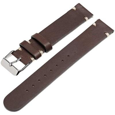 時計 ベルト 腕時計 バンド 本革 イタリアンレザー イージークリック 18mm ダークブラウン