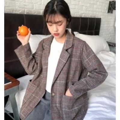 韓国 ファッション レディース テーラードジャケット チェック アウター ビッグシルエット ゆったり カジュアル レトロ 大人可愛い