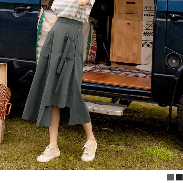 高含棉不對稱綁帶設計鬆緊工裝裙