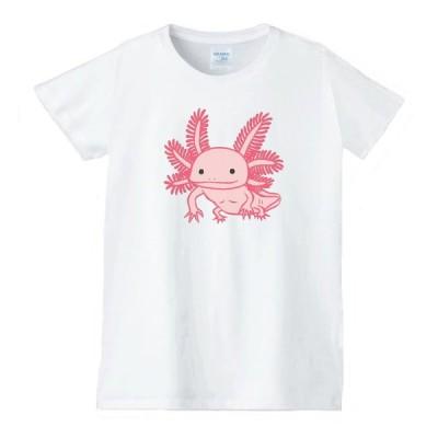 ウーパールーパー 動物生き物 Tシャツ 白 レディース 女性用 jd5