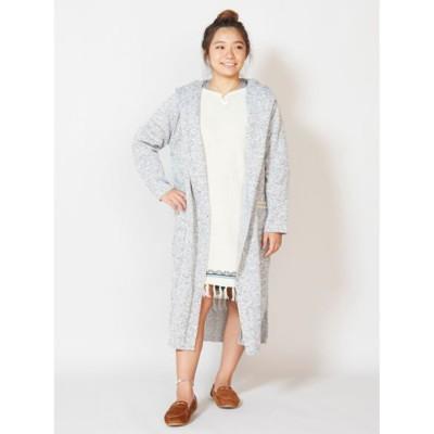 【Kahiko】裏起毛ロングジャケット フードカーディガン グレー