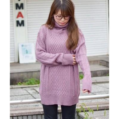 ニット 【Bl】7ゲージケーブル編みタートルネックニット