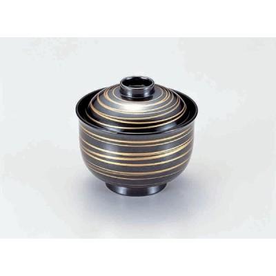 業務用漆器 3.3寸リリー椀 銀に金ライン    9.8φ×9cm  230cc